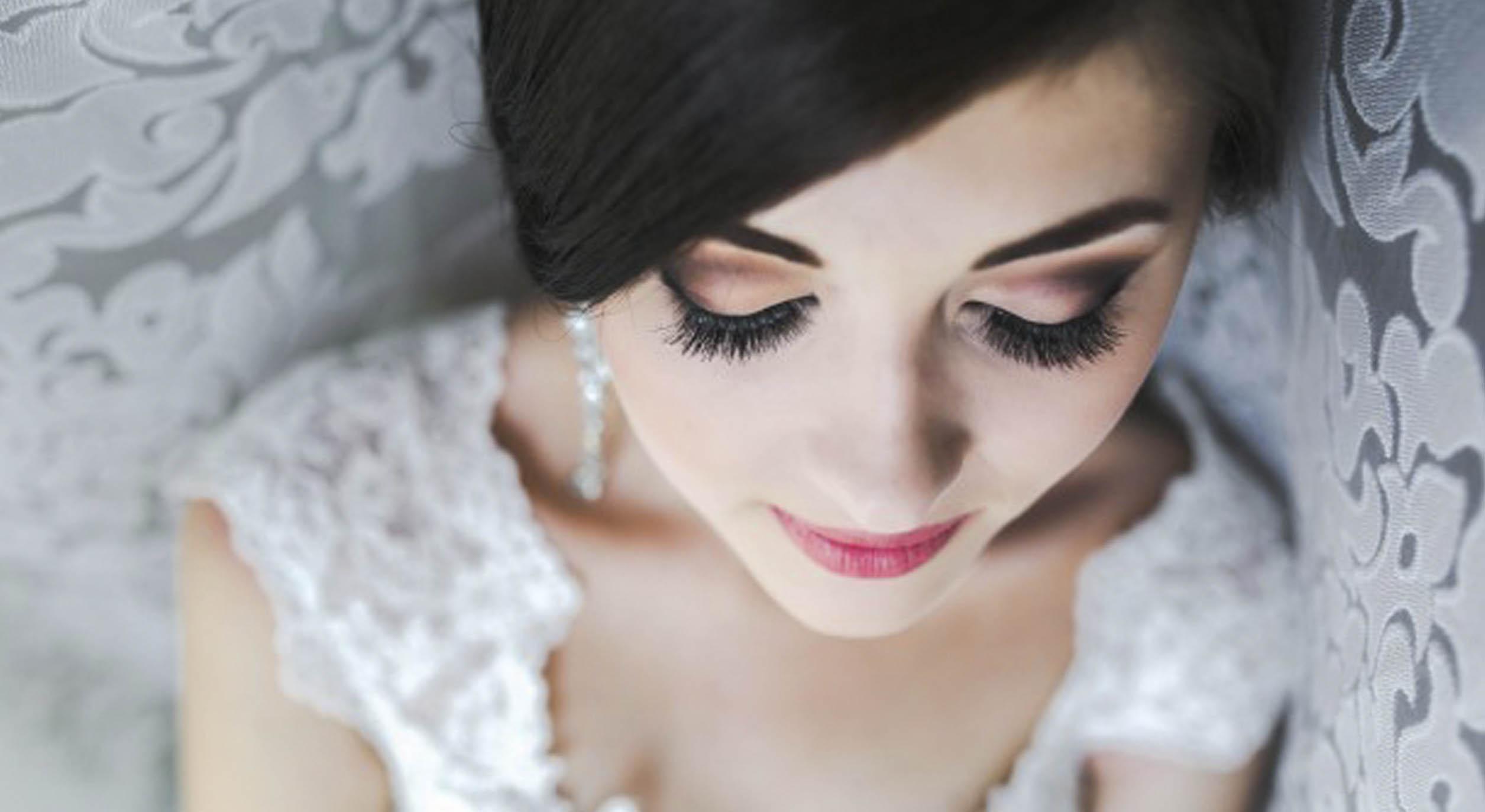 bride after eyelash extension
